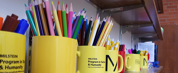 Milstein Program mugs with colorful pencils