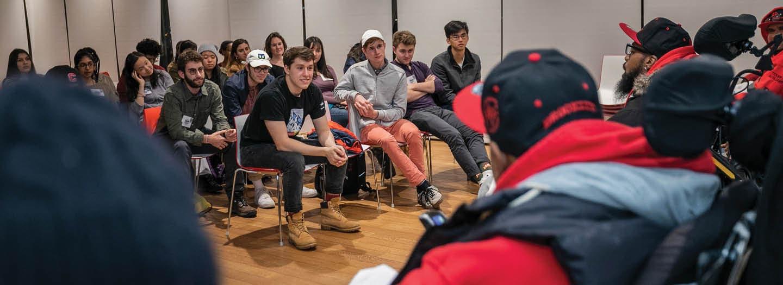 Milstein Student talk with Open Doors poets at Cornell Tech