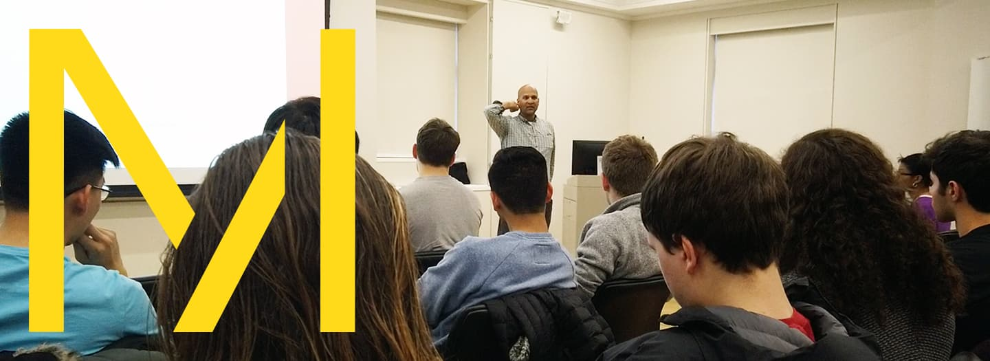 Milstein student attend a talk with Tapan Parikh