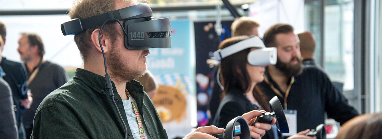 People using virtual reality headsets
